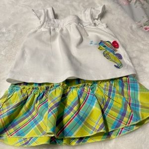 Carters 12month Girls Seahorse Shirt/Skirt outfit